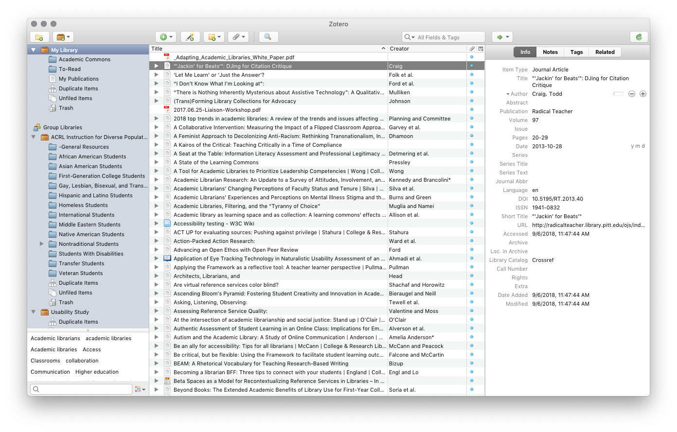 A screenshot of the main window of Zotero
