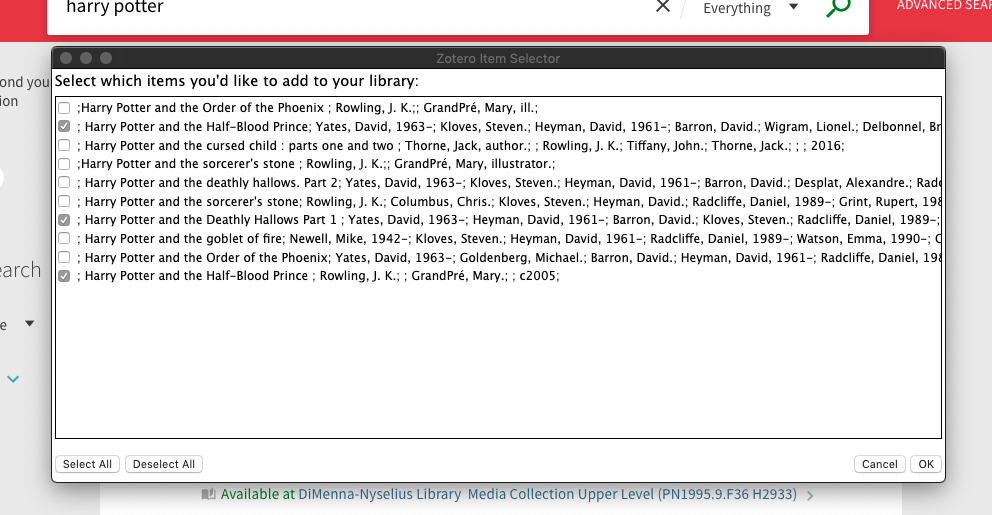 Screenshot of Zotero window to select to save multiple books