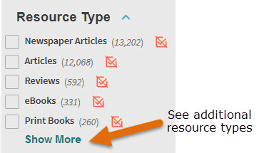 Use Resource Type to limit your search