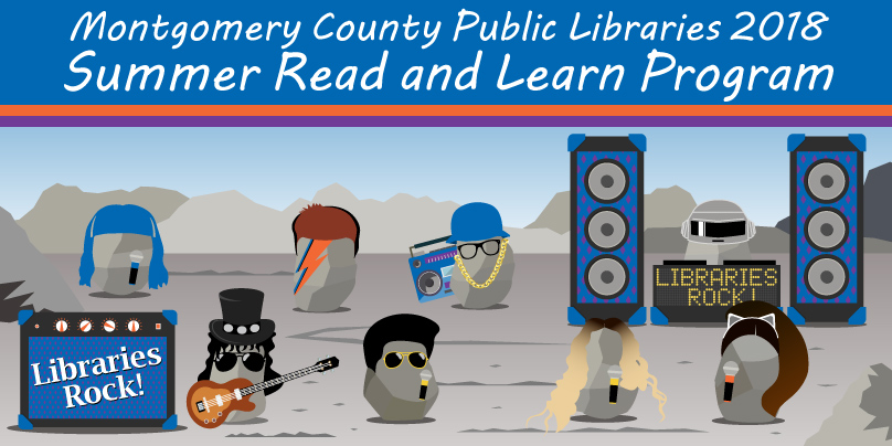 Montgomery County Public Libraries Summer Read and Learn 2018 with rocks dressed as rock stars