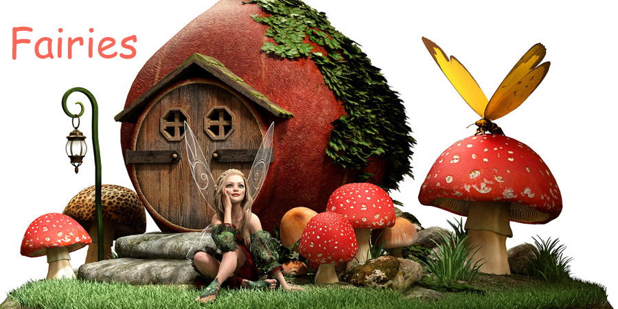 Fairy sitting outside her onion house and staring out into space