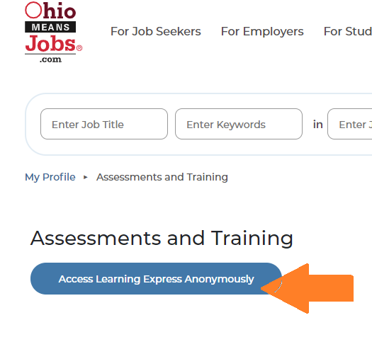 screenshot of upper left corner of Ohio Means Jobs site, with arrow pointing at blue button to access database anonymously