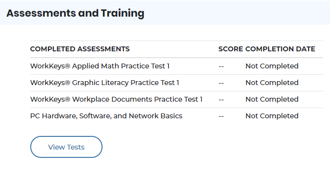 screenshot of assessments and training section on Ohio Means Jobs page