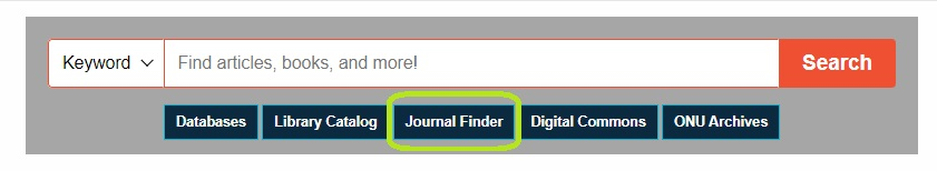 Screenshot of HML website with Journal Finder tab highlighted