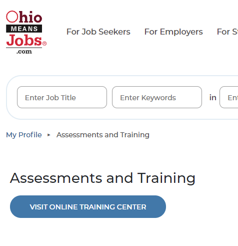 screenshot of Ohio Means Jobs page with blue button to access online training center