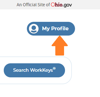 Screenshot of upper right corner of Ohio Means Jobs page with arrow pointing to My Profile