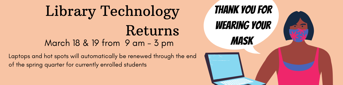 Library tech returns, March 18 and 19 from 9 to 3
