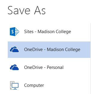 save as options including OneDrive