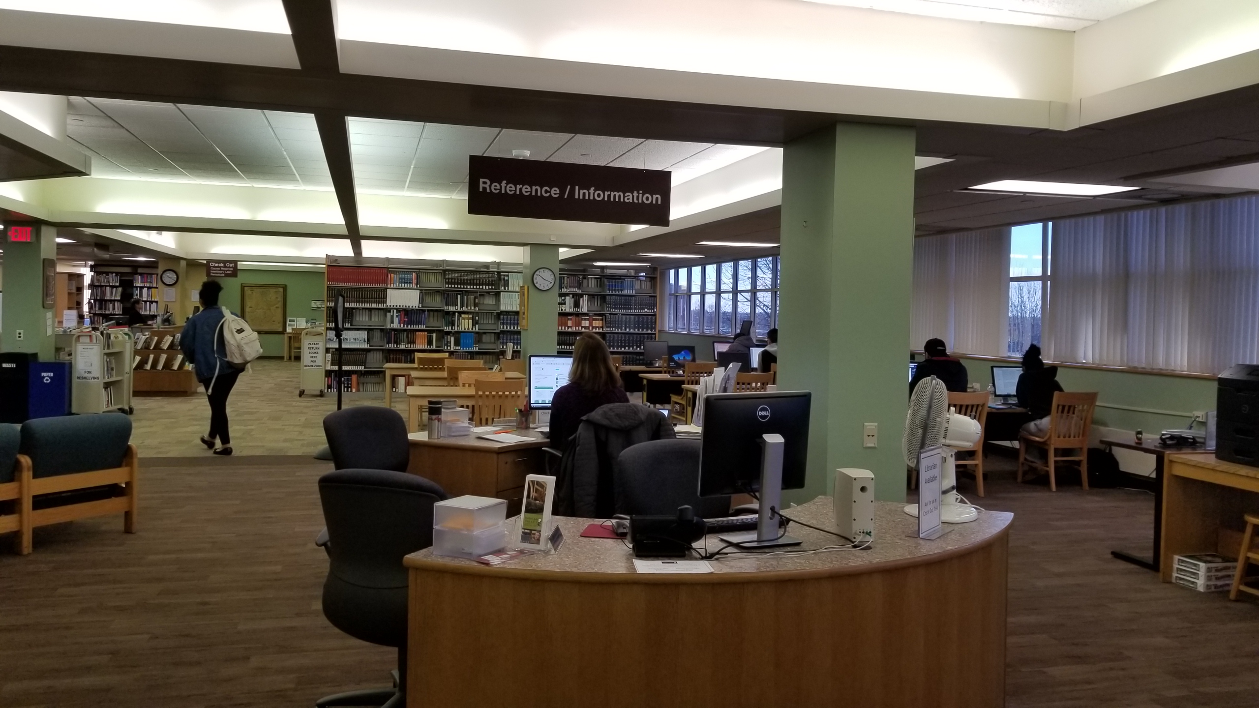 Reference/Information desks on first floor