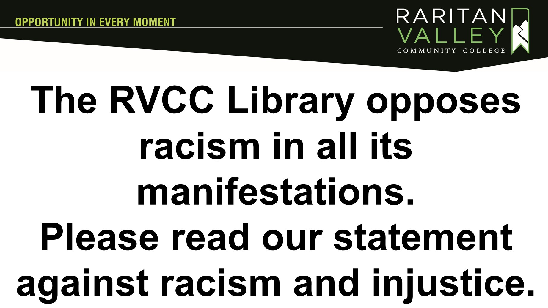 the RVCC library opposes racism