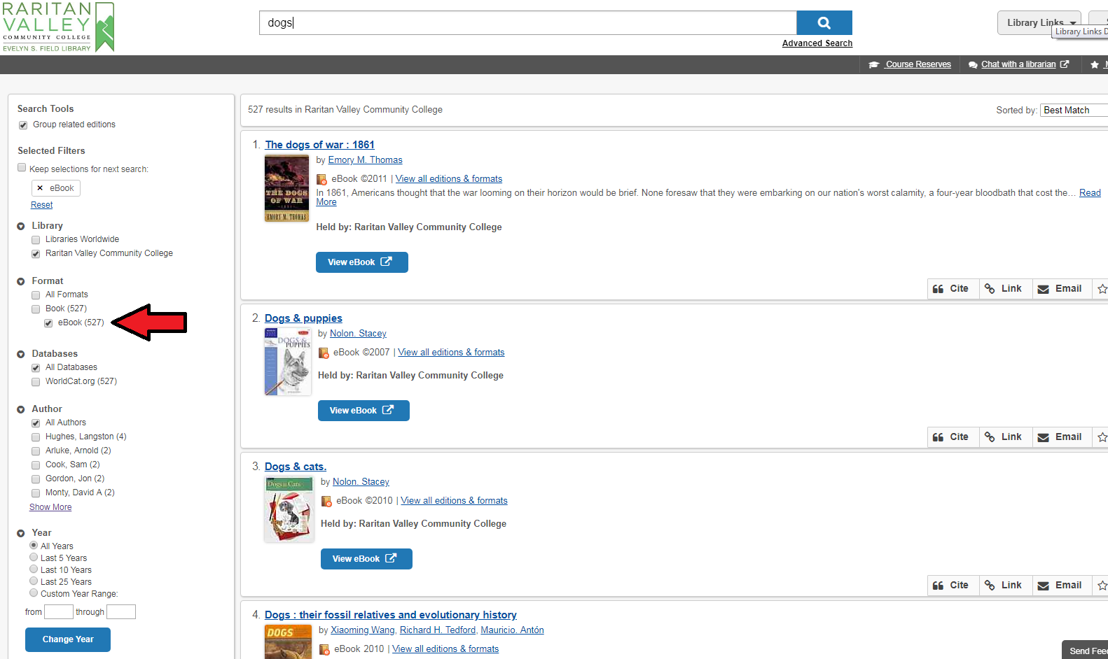 ebooks in library catalog