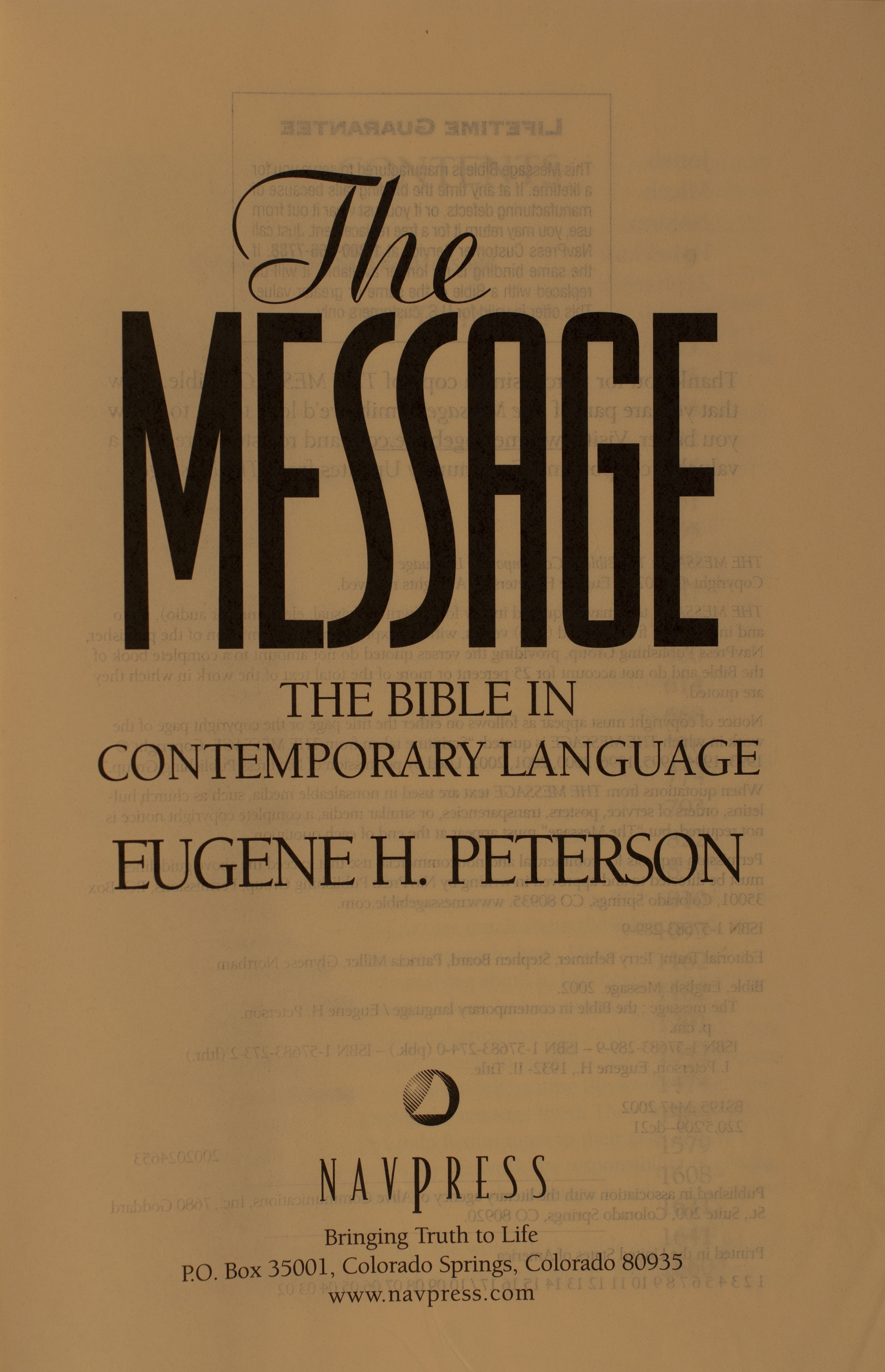 The Message title page