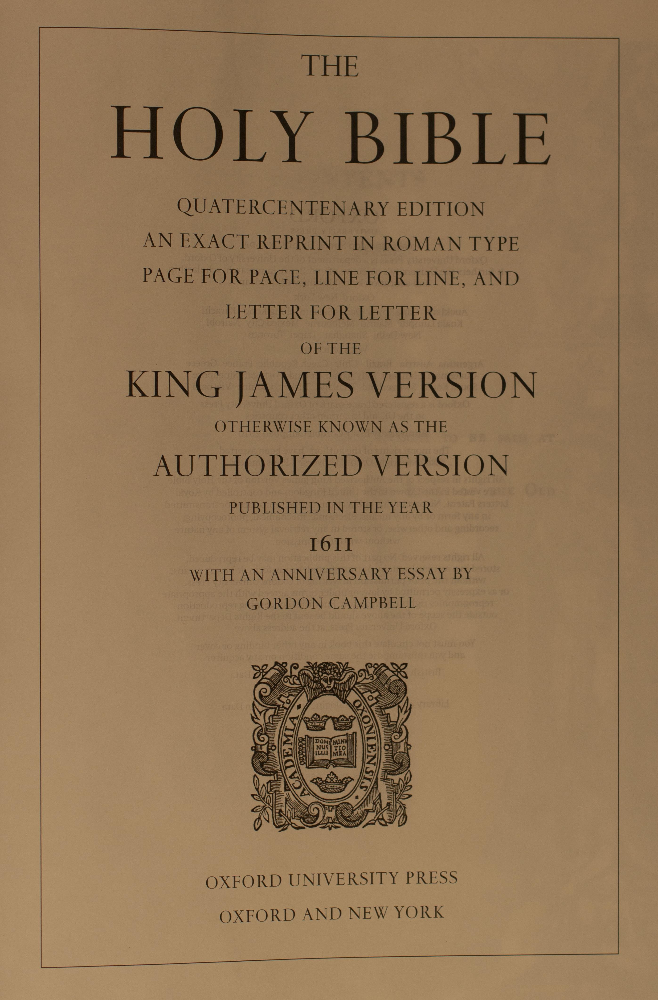 King James Bible Quatercentenary Edition