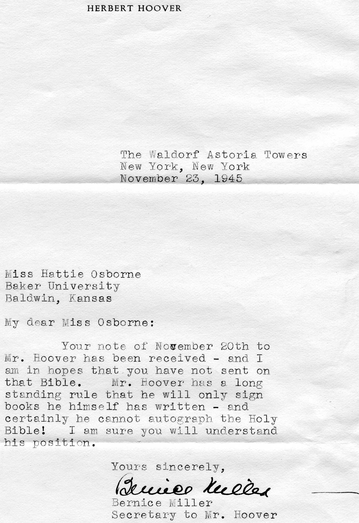 Letter from Hoover's Office