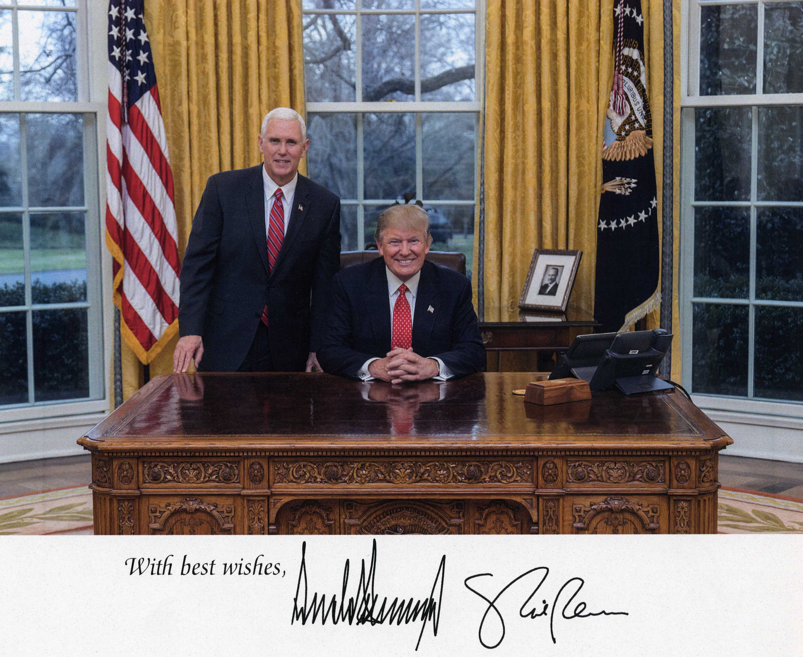 Signed Photo of President Donald J. Trump and Vice President Mike Pence