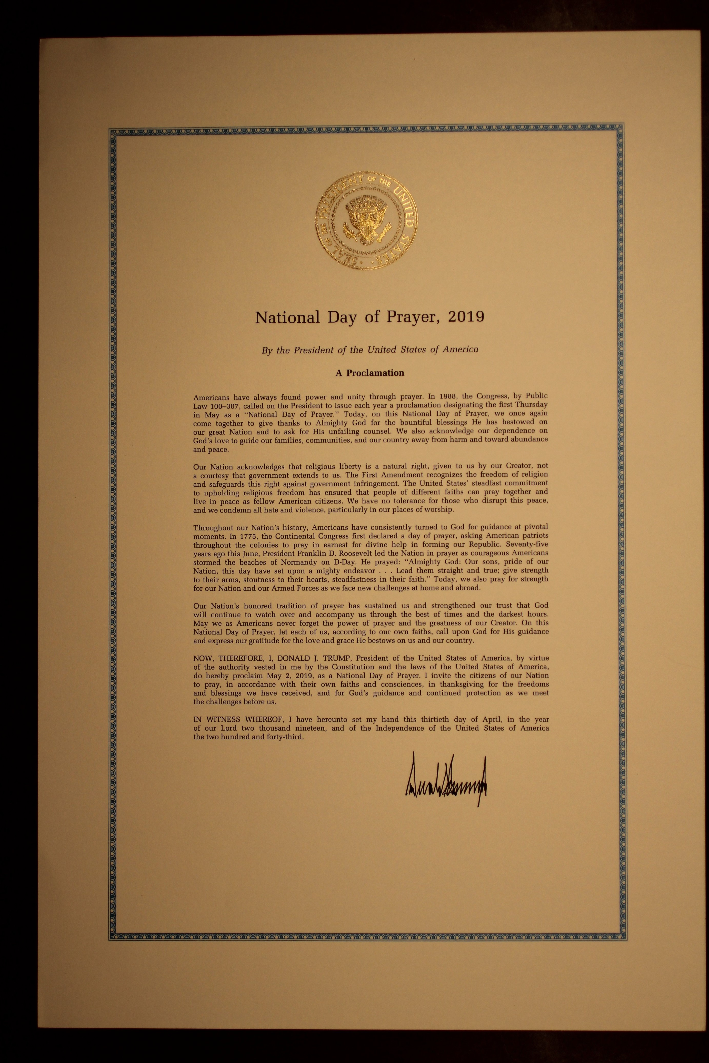 2019 National Day of Prayer Proclamation