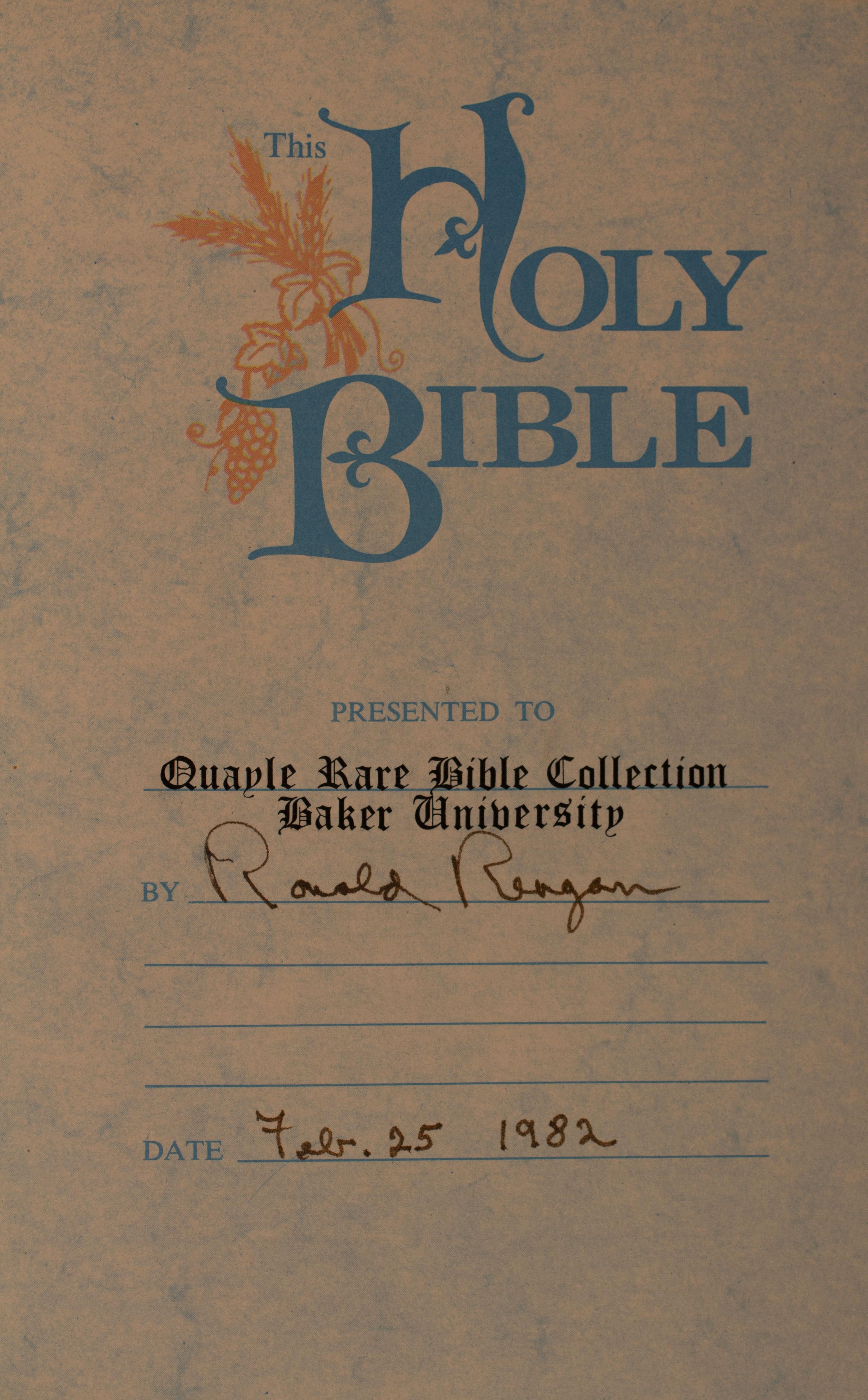 President Reagan's signature