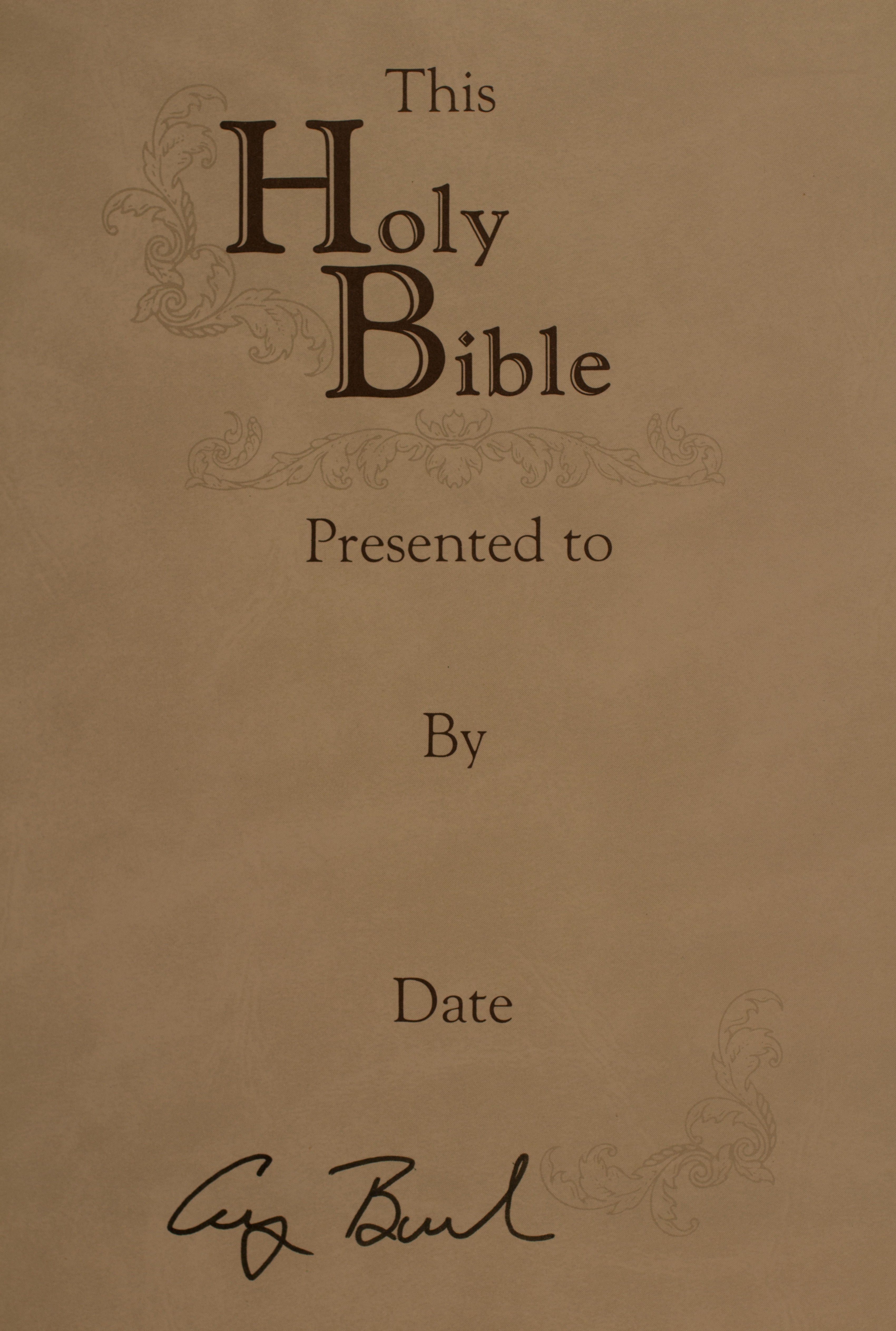New Revised Standard Version Bible signed by President Bush