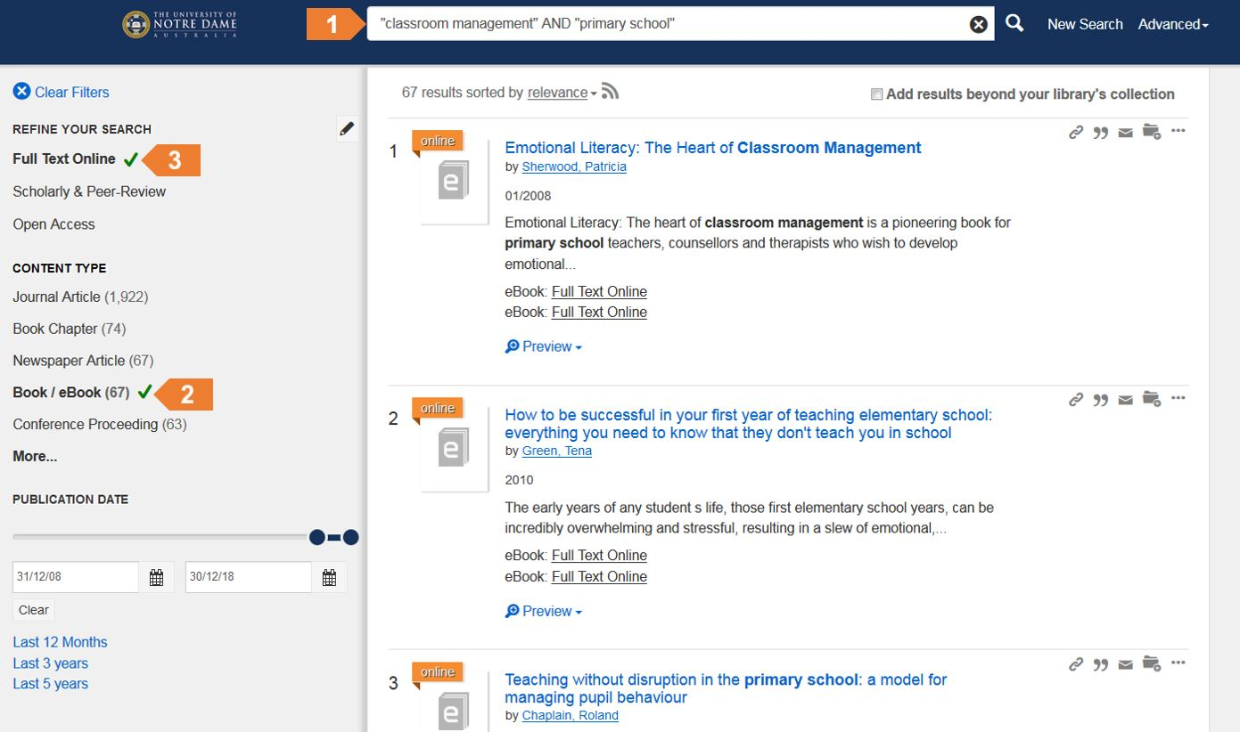 Screenshot of eBook search in Summon