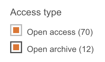 Access type Open access and Open archive are selected