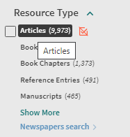 """Shows Resource Type with """"Articles"""" selected"""