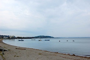 Lake Hamana, with boats and people digging for clams