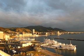 Otsu in dawn light; Mt. Hiei below the clouds