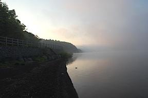 Lake Yamanaka with mist