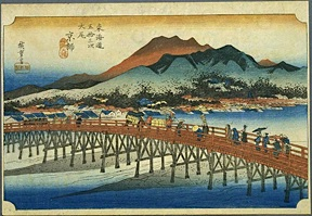 Bridge over the Kamo River (Hiroshige)