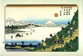 A frozen Lake Suwa, from Shiojiri (Hiroshige)