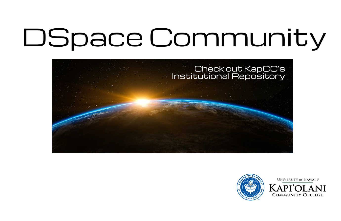 Earth in space with 'DSpace Community' above it