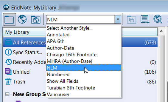 Pull-down menu where user can select NLM as preferred style.
