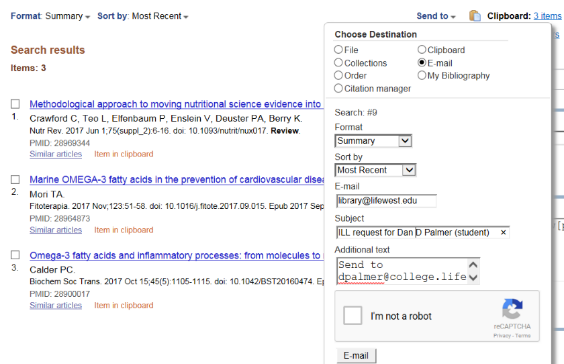 Screenprint of form for emailing citations from PubMed