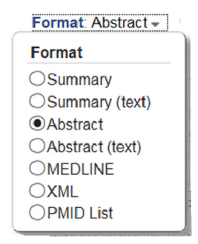 Format pull-down menu with radio buttons.