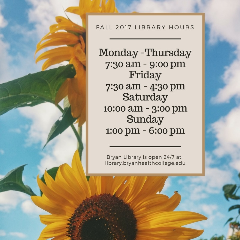 Fall Library hours: Monday through Thursday: 7:30 a.m. - 9:00 p.m.; Friday, 7:30 a.m. - 4:30 p.m.; Saturday, 10:00 a.m. - 3:00 p.m.; Sunday, 1:00 p.m. - 6:00 p.m.