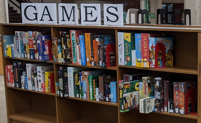 snapshot of the library's board game collection