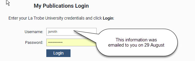 My Publications login screen