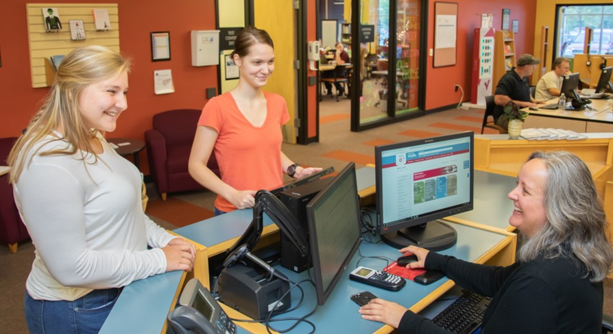 Students at Library Help Desk