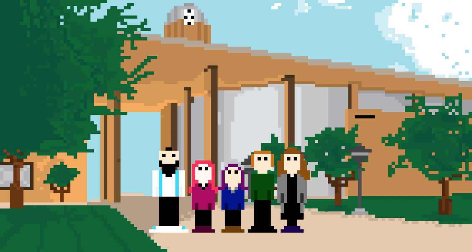 Image of LSC-North Harris Library and Librarians in 8-bit style