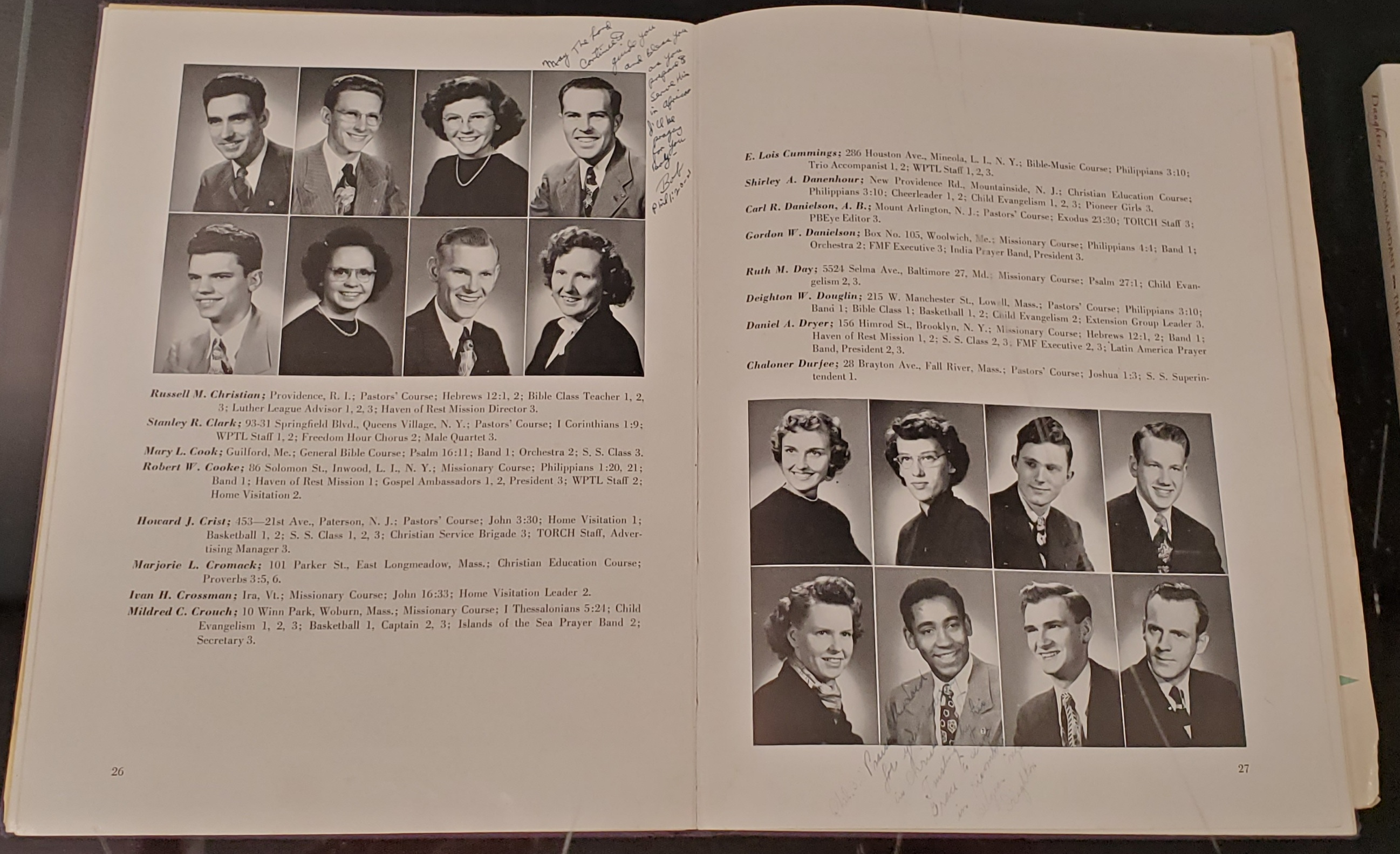 Pages from the 1950 Barrington Yearbook titled Torch. It features a photo of Deighton Douglin in the bottom row as well as a small note that he wrote to the former owner of the yearbook.