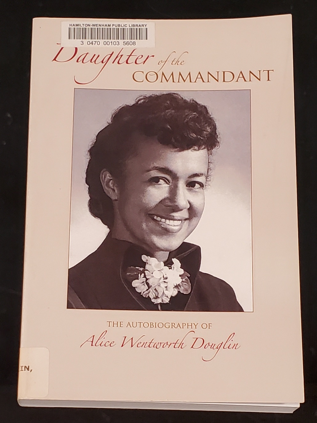 Cover of Alice (Wentworth) Douglin's autobiography
