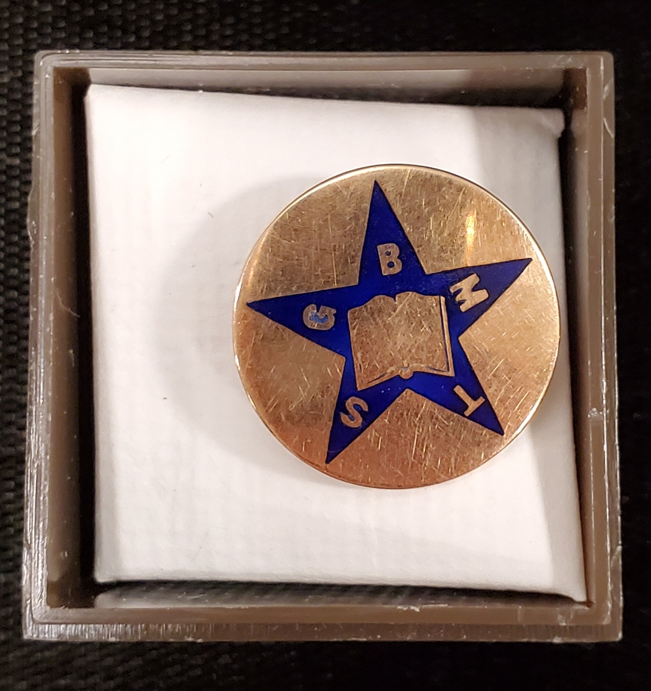 Pin that features a blue star with an open bible at the center. Each point of the star has a letter: G B M T S.
