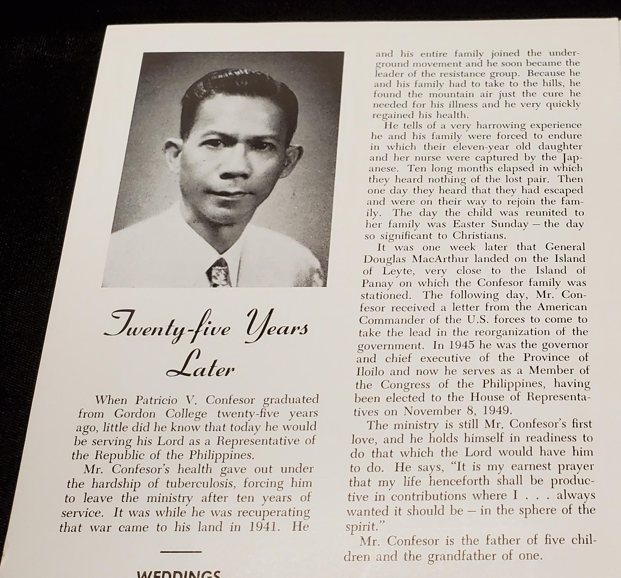 Article about Patricio Confesor in The Gordon