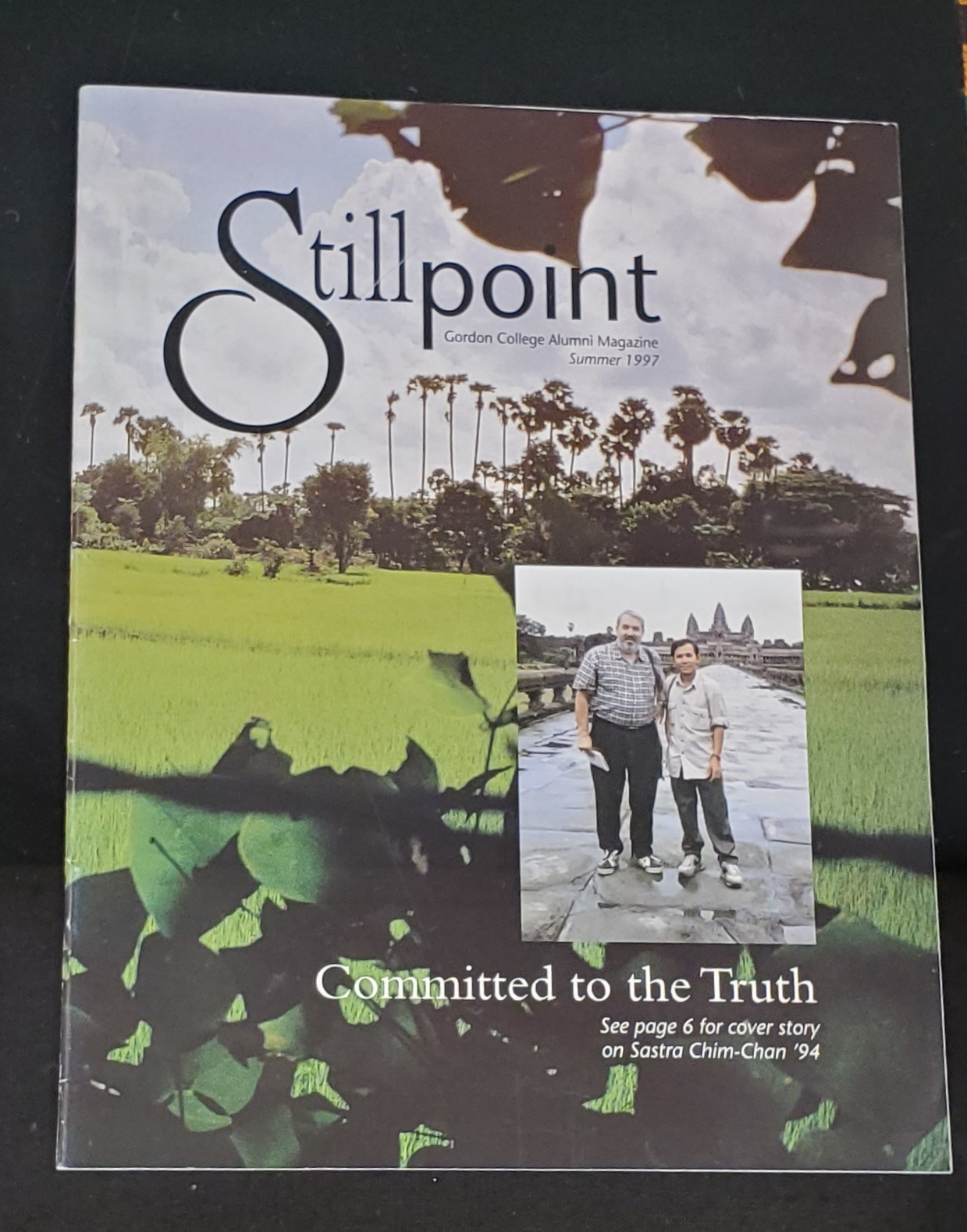 Cover of the Summer 1997 Stillpoint featuring a photo of Sastra with former Gordon professor Peter Stine.
