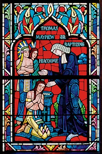 Stained glass window depicting Rev. Thomas Mayhew, Jr. baptizing Hiacoomes
