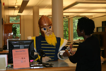 Gus the Viking at Circ Desk