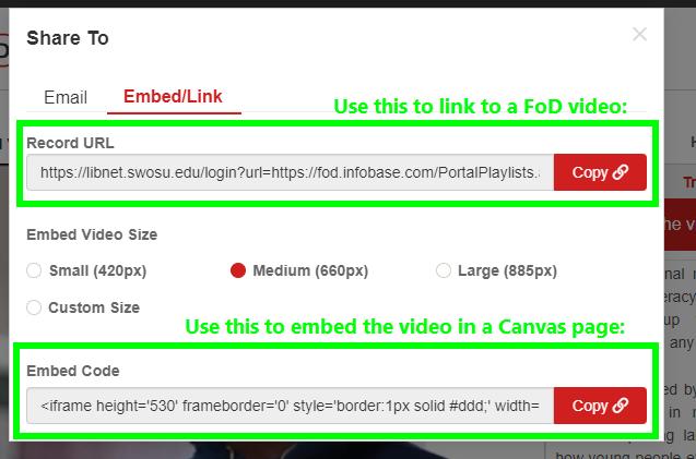 Choose the Embed/Link tab