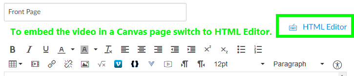 Go to Canvas and edit your page. Click HTML Editor: