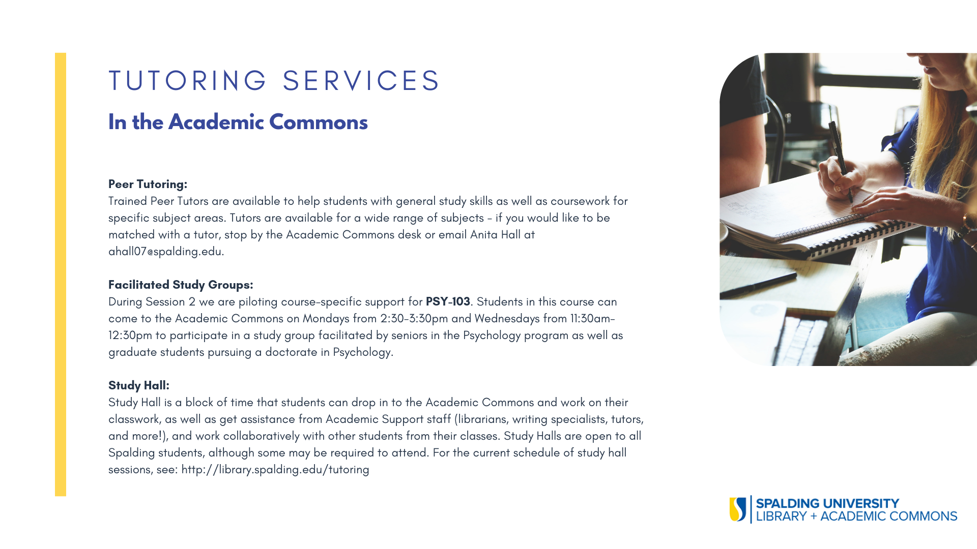 Flyer with information about tutoring services