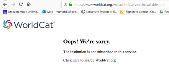 WorldCat error message two, July 2019